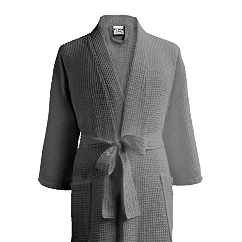 Luxor Spa - Luxor Linens Waffle Weave Spa Bathrobe - Cotton (1 Robe-No Monogram, Light Grey)