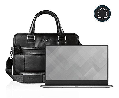reboon Echt-Leder Laptop-Tasche in Schwarz Leder für DELL XPS 13 9360R 13 3 | 13 Zoll | Notebooktasche Umhängetasche | Damen/Herren - Unisex | Premium Qualität Schwarz Leder
