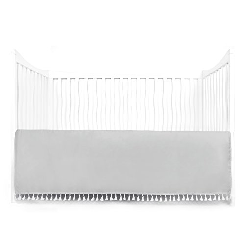Tadpoles Microfiber Crib Skirt with Tassel, Grey