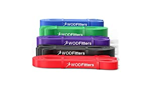 WODFitters Pull Up Assistance Bands - Stretch Resistance Band - Mobility Band - Powerlifting Bands, Durable Workout/Exercise Bands (Set of 5 Bands)