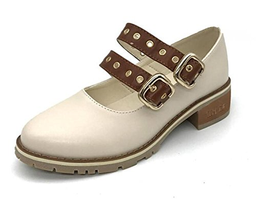YEEY Otoño mujer alto talón romana zapatos retro hebilla tobillo correa cierre de pie áspero talón hueco cabeza redonda albaricoque apricot