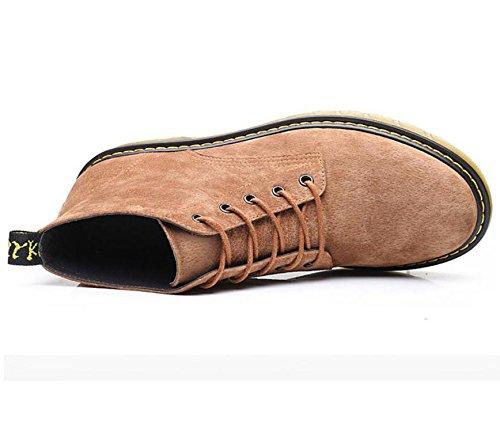 LQV Hommes Martin Bottes Jeunesse Mode Bottes Anti-Dérapant Résistant à l'usure Tendon Bas Simple Lacets Confortable Respirant Brown 3hgwMSIav