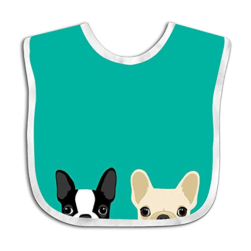 Custom Baby Bandana Drool Bibs, Boys/Girls Burp Cloths for Drooling and Teething, Sneaky Boston Terrier & French Bulldog