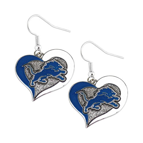 (Detroit Lions Swirl Heart Dangle Earring Set NFL Charm Gift by aminco)