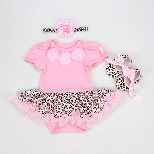 (NPK collection Reborn Baby Doll Clothes Outfit for 20-23 Inch Reborns Newborn Babies Matching Clothing Pink Leopard Tutu Dress Three-Piece Set)