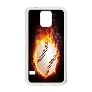 kimcase Custom fire baseball Cover for Samsung Galaxy S5 I9600