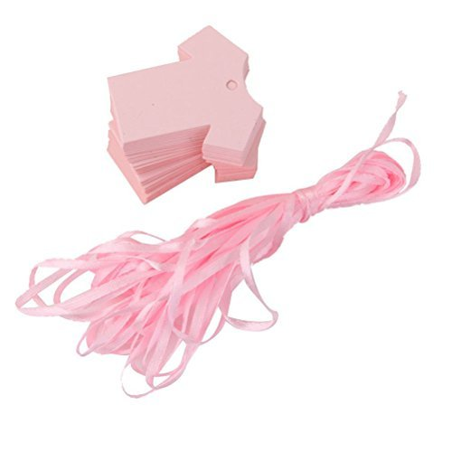 Tinksky Baby Shower Party Favour Gift Tags Baby Shower Decorations 100-Pack (Pink)