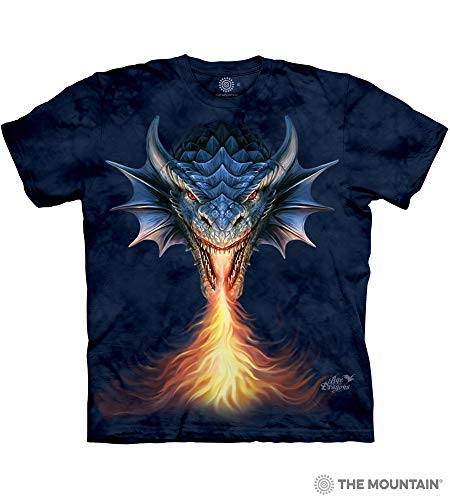 The Mountain Fire Breather Adult T-Shirt, Blue, 2XL