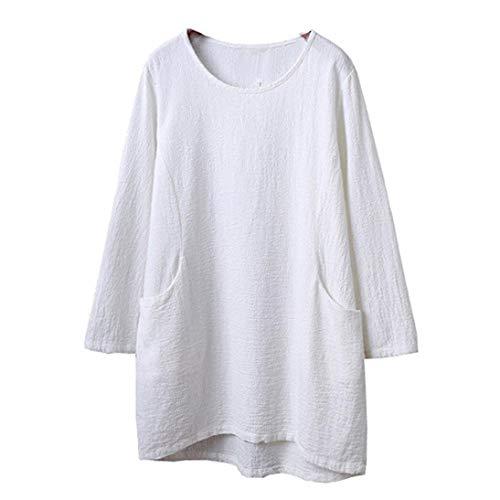 (Clearance☀Promotion! Women Blouse, NEARTIME Autumn Women's Cotton Linen 4/5 Sleeve Tunic Tops Comfy Loose Pocket Coat)