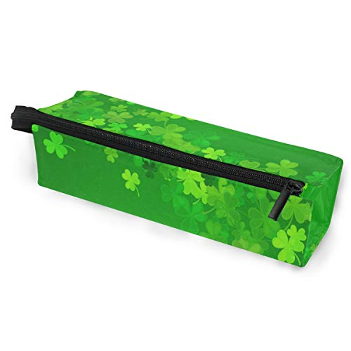 (Glasses Case Lovely Clover Leaf Multi-Function Zippered Pencil Box Makeup Cosmetic Bag for Women )