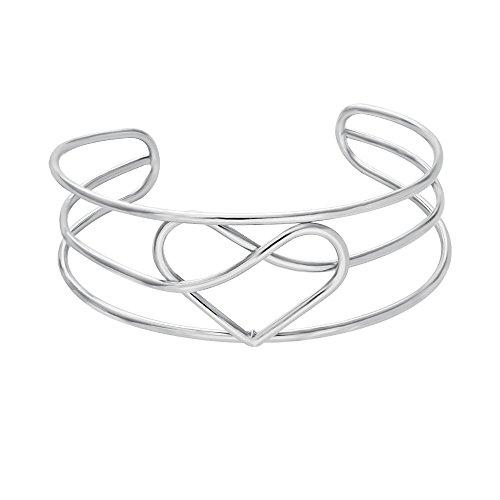 NOUMANDA Multi-Layer Line Charm Love Heart Bangle Open Cuff Bracelet ()