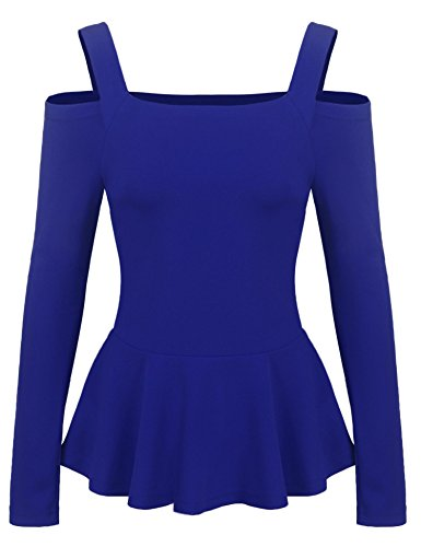 Grabsa Women's Casual Cold Shoulder Long Sleeve Ruffle Side Peplum Top Shirt Royal Blue X-Large