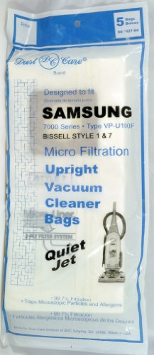 Bissell Style 1 & 7 Upright Vacuum Cleaner Bags, Dust Care Replacement Brand Bags, designed to fit Samsung 5000-7000 Series Type VP-U100F Quiet Jet and Bissell Style 1 & 7 Upright Vacuum Cleaners, 99.7 Microfiltration, 5 bags in pack ()