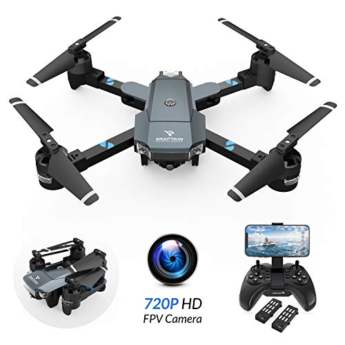 SNAPTAIN A15 Drone, Foldable Drone with 120°Wide-Angle 720P HD FPV WiFi Camera/Voice Control/Trajectory Flight/Altitude Hold/G-Sensor/3D Flips/Headless Mode/One Key Return/2 Modular Batteries/APP