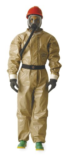 - DuPont - C3184TTNSM000600 - Collared Chemical Resistant Coveralls with with Attached Gloves Cuff, Tan, S, Tychem CPF 3