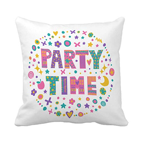 Batmerry Halloween/Thanksgiving Theme Decorative Pillow Covers 18 x 18 inch, Kids Word Art Bright Cartoon White Quote Invitation Bags Throw Pillows Covers Sofa Cushion Cover Pillowcase Home Gift