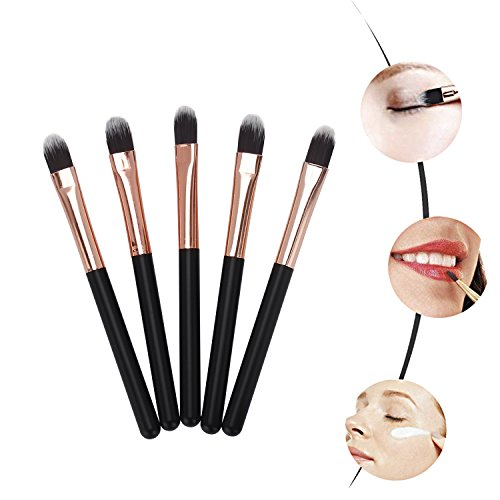 Miss Gorgeous Mini Eye Makeup Brushes (Soft Synthetic Hair) Eyebrow Eyeshadow Brush - Concealer Blush Lip Makeup Brushes (5 Pcs/Set)