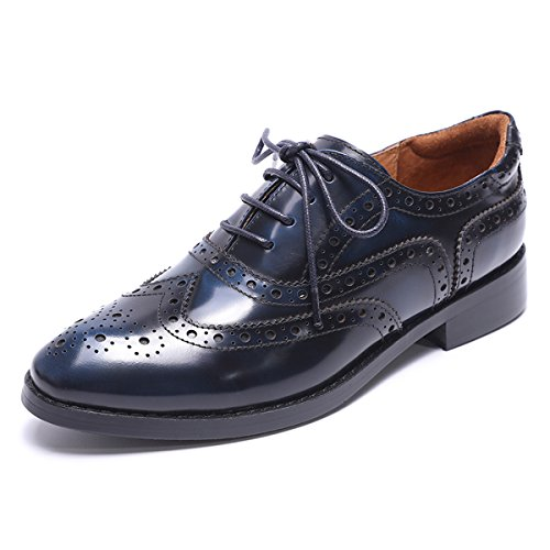 Mona flying Womens Leather Perforated Lace-up Saddle Oxfords Brogue Wingtip Derby Shoes Blue-Black ()