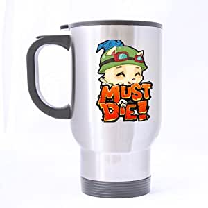 LOL Must Die Funny Teemo Decorative Customize Personalized Travel Mug Sports Bottle Coffee Mugs Silver 14 OZ Office Home Cup Two Sides Printed