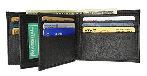 Marshal® Leather Mens Wallet Black Bifold Fixed Flip 3 Window ID & Organza Gift Bag New