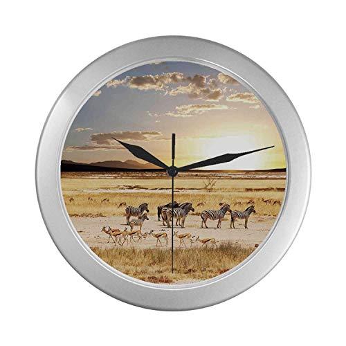 (C COABALLA Safari Simple Silver Color Wall Clock,Zebras with Their Striped Coats in Savannahs Sunset Adventure Africa Wild Safari for Home Office,9.65