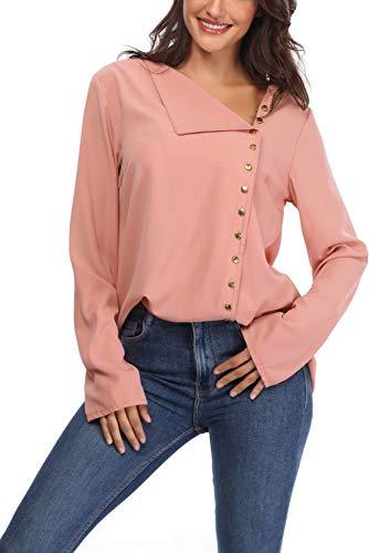 Aranmei Donna Camicetta Blusa Chiffon Elegante Camicia Maniche Lunghe Chiusura a Bottoni con Scollo V Asimmetrico (S-XL) Rosa