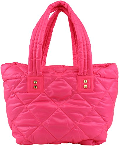 Juicy Couture Hollywood Hideaway Nylon Tote Top Handle Bag, Ultra Pink (Pink Juicy Couture Purse)