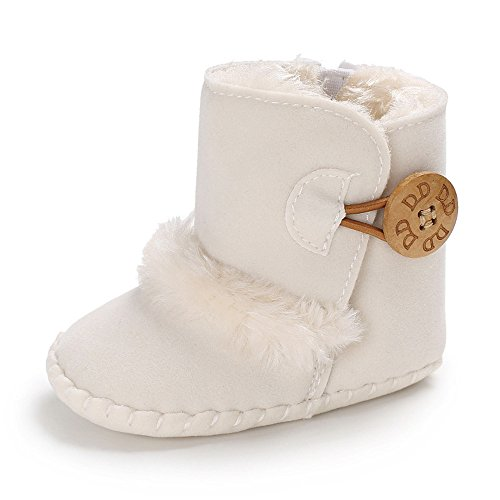 Isbasic Infant Baby Premium Buttons Snow Boots Anti-Skid Rubber Sole for Toddler Boys Girls Winter Warm Crib Shoes(12-18 Months Toddler,White)