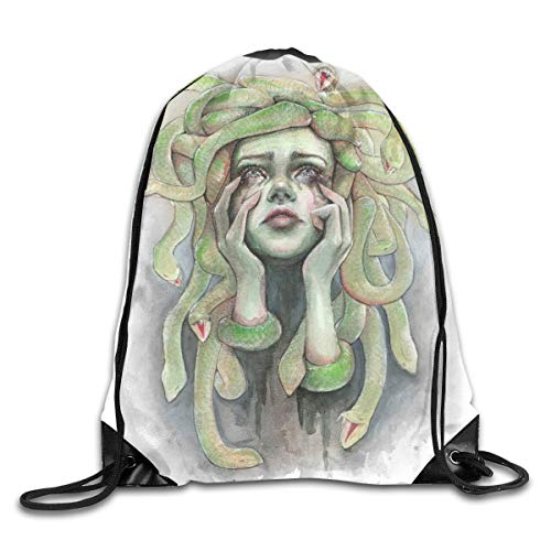 Medusa Painting Halloween Green Patterned Themed Printed Drawstring Bundle Book School Shopping Travel Back Bags Draw String Gym Backpack Bulk Girl Boy Women Men