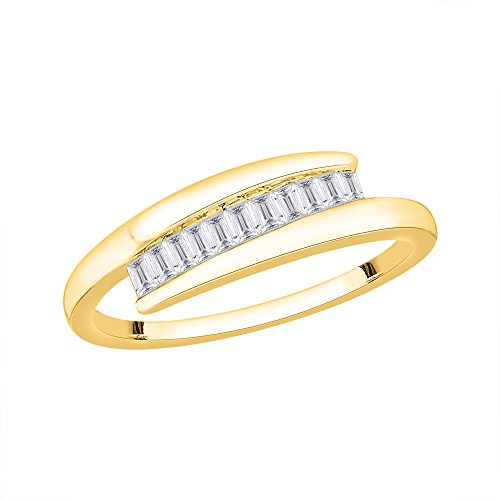 Baguette Cut Diamond Fashion Bypass Ring in 10K Yellow Gold (1/4 cttw) (GH-Color, I1-Clarity) (Size-9.5)
