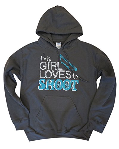 Sports Katz 'This girl Loves to shoot' (bow) Hoodie Charcoal Medium