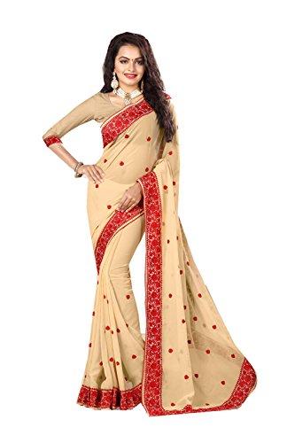 Da Facioun Indian Sarees For Women Wedding Designer Party Wear Traditional Chiku Sari by Da Facioun