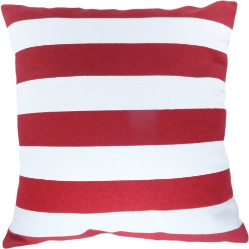 """Decorative Printed Stripes Throw Pillow Cover 18"""" Red"""