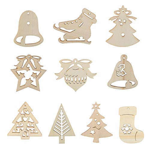 Kesoto Christmas Ornaments Wooden Hanging Ornament Set Hanging Embellishments Crafts for Wedding DIY Christmas Tree Xmas Decorations with Strings, Pack of 30