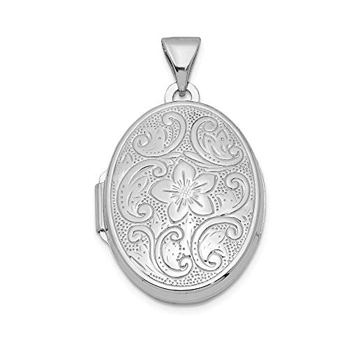 - 925 Sterling Silver Oval Floral Photo Pendant Charm Locket Chain Necklace That Holds Pictures Fine Jewelry Gifts For Women For Her
