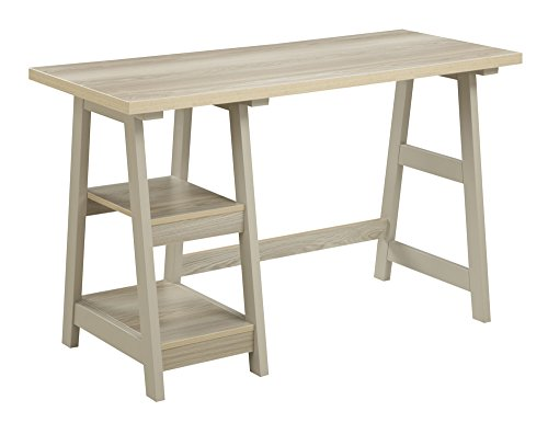 2 Drawer Oak Computer Desk (Convenience Concepts Designs2Go Trestle Desk, Weathered)