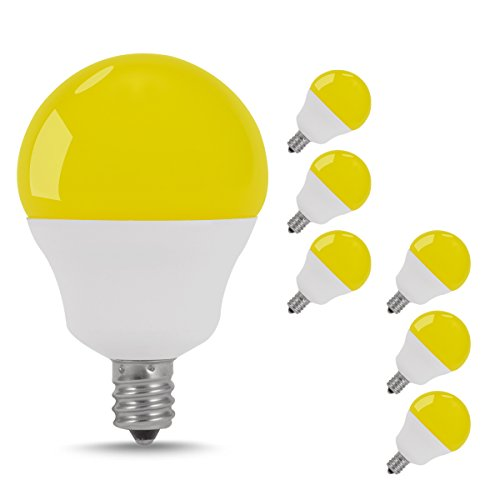 JandCase LED Yellow Bug Light Bulbs, Indoor Outdoor Porch Lights, 5W, 40W Incandescent Equivalent, E12 Candelabra Base Globe Bulb, G14 Bulbs for Home Hallway, Yard, Decorative Lighting, 6 Pack