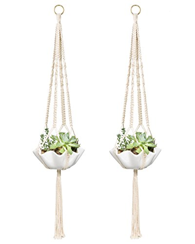 Mkono Small Macrame Plant Hangers Hanging Planter 30 Inch (Fit Small Pot Up to 6 Inch) Indoor Wall Window Container Holder Basket Home Decor, 2 Packs