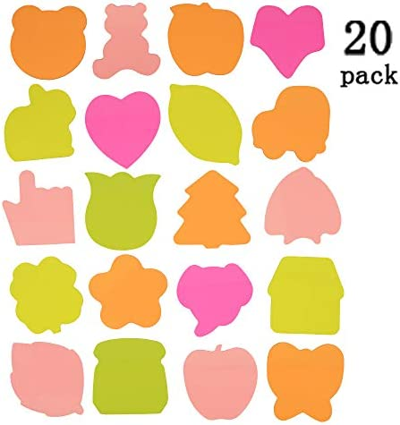 Selbstklebende Notizzettel -Notes bunte Haftnotizen – 6 Pads Per Pack – 100 Sheets Per Pad – Pro Pad 4 Colours per pack 6 Different Shapes Inside – 76 mm x 76 mm