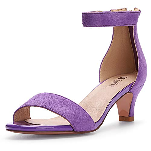 (IDIFU Women's IN2 Slim Fashion Stilettos Ankle Strap Open Toe Pump Heeled Sandals Kitten Heel Party Shoes with Zipper (11 M US, Lavender Suede))