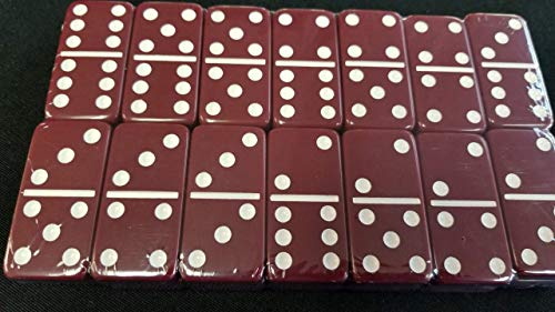 Maroon Double Six Dominoes Tournament Size in Velour Gift Box ()