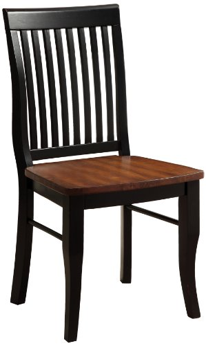 Furniture of America Brook Dining Chair, Set Of 2, Black and Oak