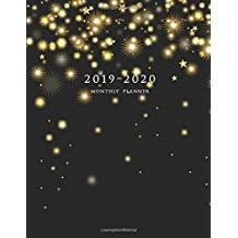 2019-2020 Monthly Planner: Large Two Year Planner (Christmas Gold Snowflakes)