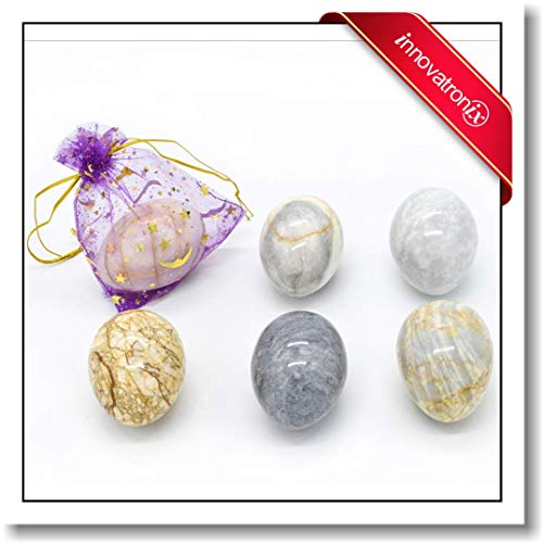 Innovatronix 6 Pieces Handmade Real Marble Stone Eggs - Home and Office Decor - Marble Paperweight - Free 6 Pieces Drawstring Pouches | 1.75x2 Inches -