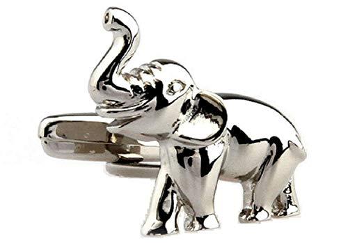 Gold Cufflinks Elephant - MRCUFF Elephant Pair Cufflinks in a Presentation Gift Box & Polishing Cloth