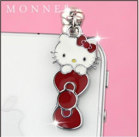 Red Bow Hello Kitty Dust Plug-Earphone Jack Accessories for Iphone 4 4s/ipad/ipod Touch/samsung/other 3.5mm Ear Jack (1 Piece) Ip22 (Jack Charm Ear Bow)