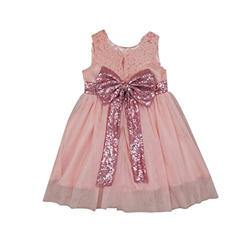 Weixinbuy Party Wedding Sleeveless Girls' Little Bowknot Summer Sequin Dresses Pink rHTrx0F