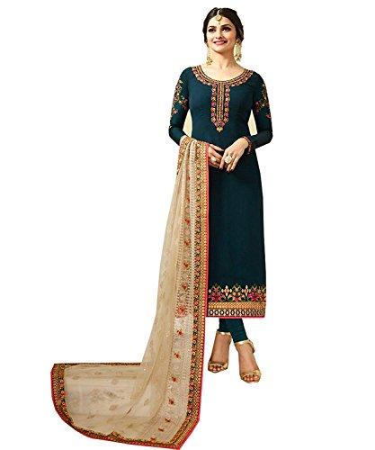 (London Collection Glorious Prachi Desai Floral Work Pakistani Straight Salwar Kameez (Bermuda Blue, Unstitch))