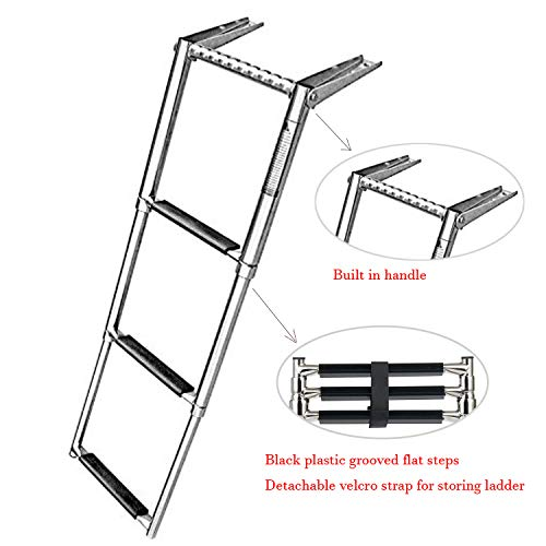 Amarine-made 3 Step Telescoping Swim Marine Boat Ladder Stainless with Built in Handle ()