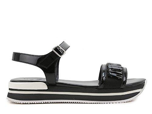 Cuero negro de Hogan cuñas de sandalias con cristales - Número de modelo: HXW2570U8800W0B999 negro